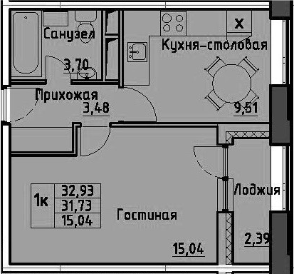 1-к.кв, 34.12 м²