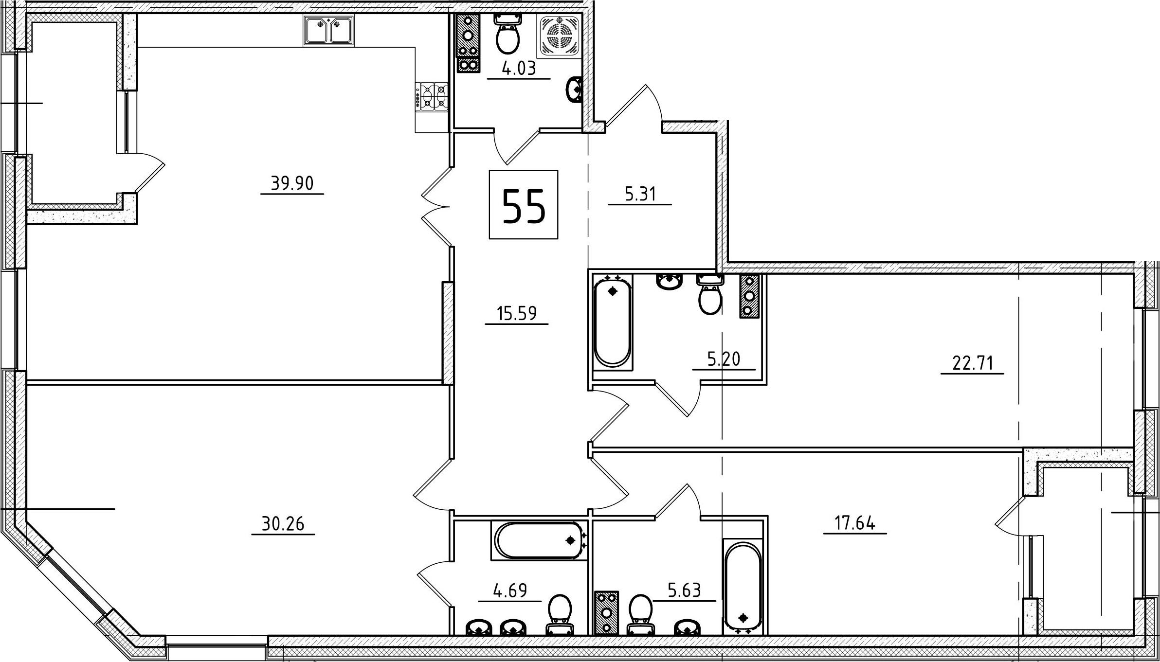 4Е-к.кв, 155.63 м², 3 этаж