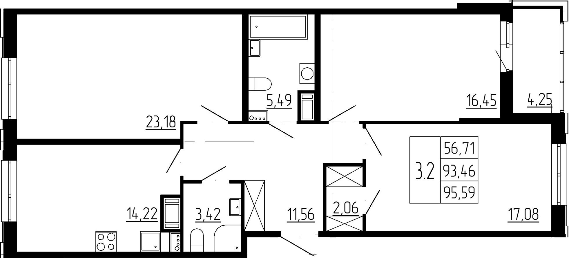 3-к.кв, 94.55 м²