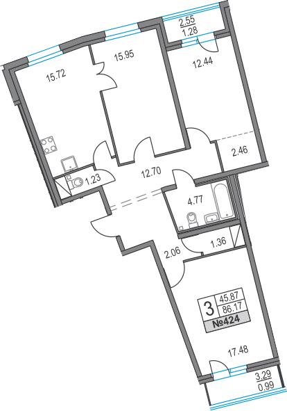 4Е-к.кв, 86.17 м², 2 этаж