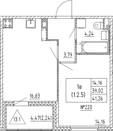 2Е-к.кв, 41.26 м², 2 этаж