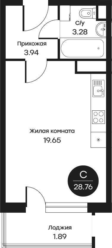 Студия, 28.76 м²