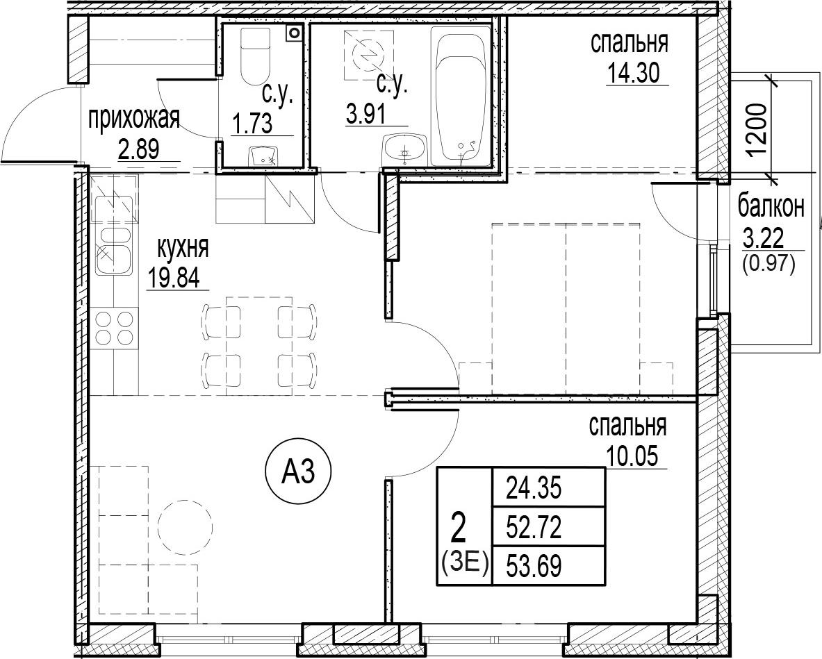 3-к.кв (евро), 55.95 м²