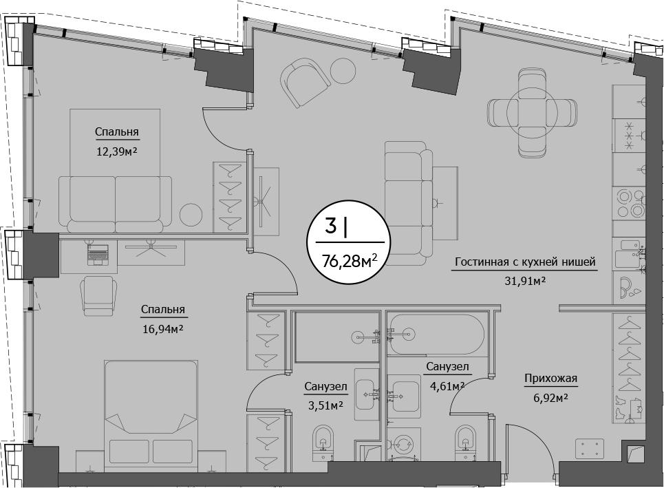 3Е-к.кв, 76.28 м²