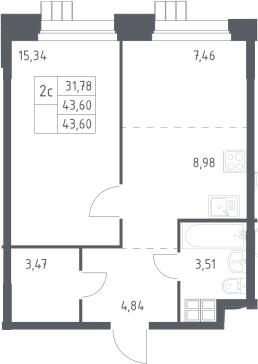 2Е-к.кв, 43.6 м², 16 этаж