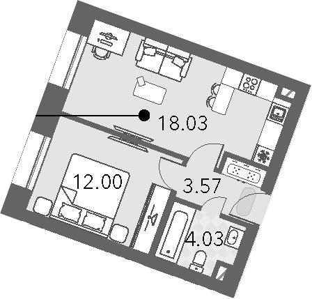 2Е-к.кв, 37.63 м², от 4 этажа