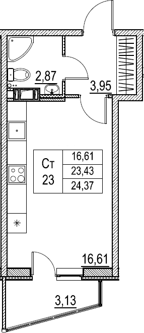 Студия, 24.37 м²