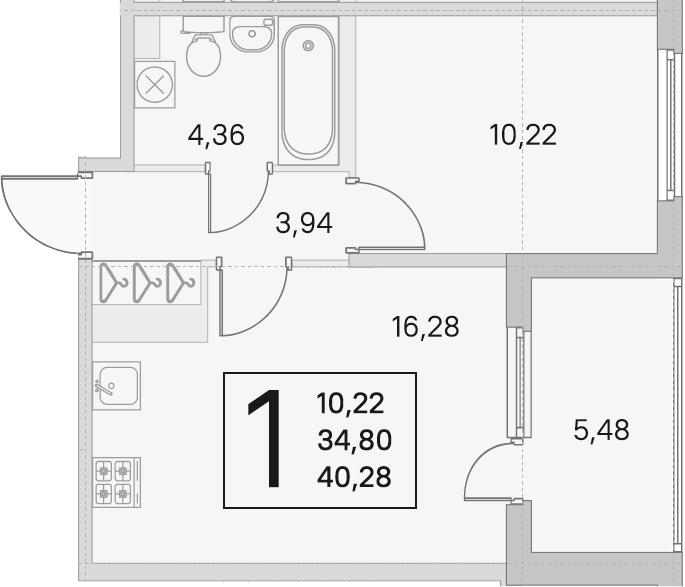 2Е-к.кв, 34.8 м²