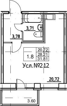 Студия, 28.21 м², 2 этаж