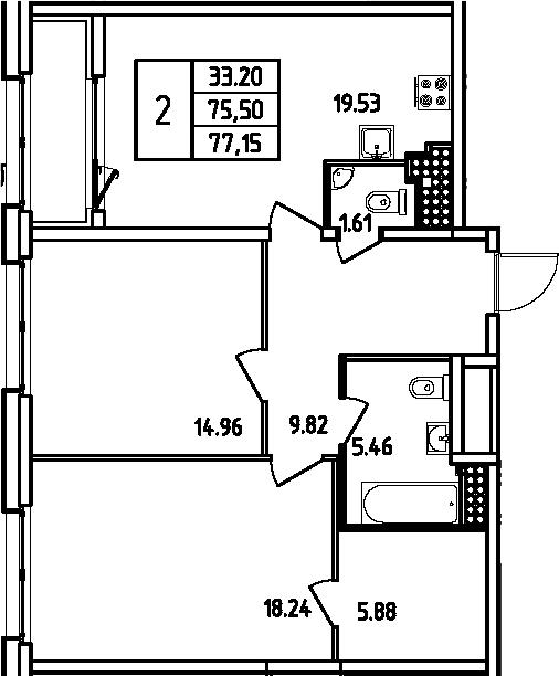 3Е-комнатная, 77.15 м²– 2