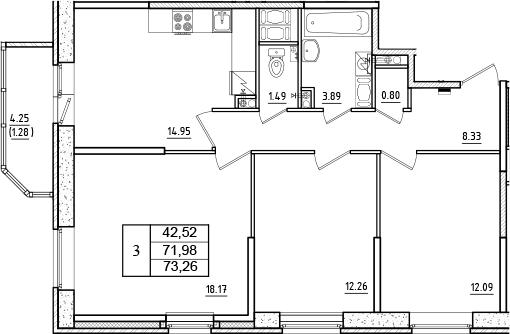 3-к.кв, 73.26 м²