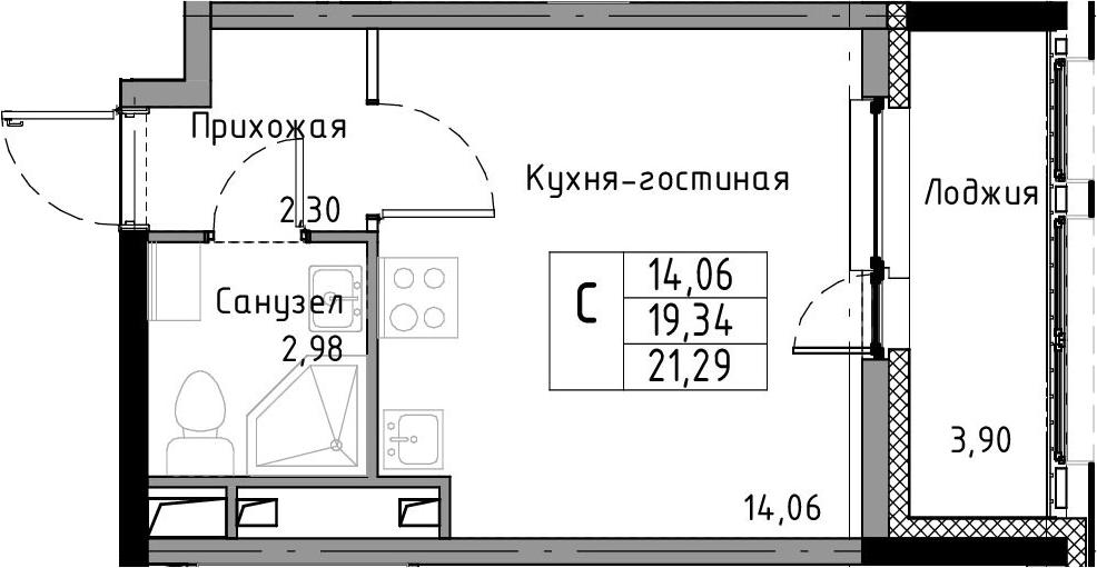 Студия, 21.29 м², 3 этаж