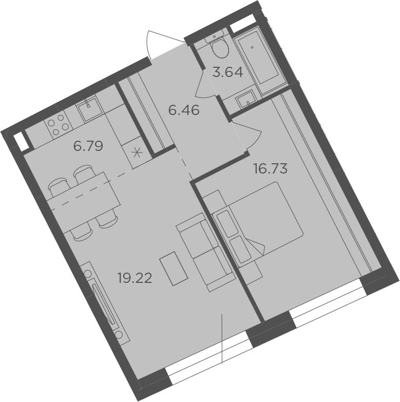 2Е-к.кв, 52.84 м², 14 этаж