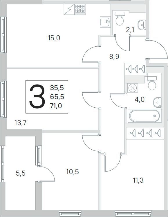 4Е-к.кв, 65.5 м², от 3 этажа