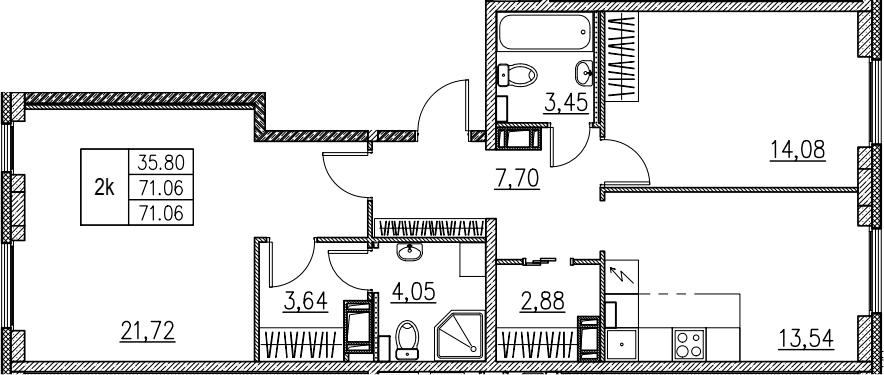 2-комнатная, 71.06 м²– 2