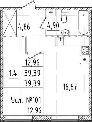 2Е-к.кв, 39.39 м², 1 этаж