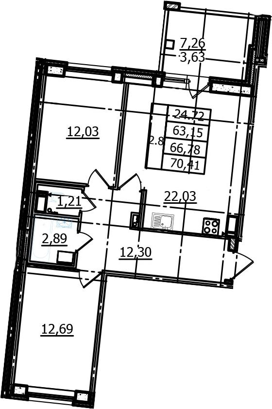 3Е-к.кв, 63.15 м², от 4 этажа
