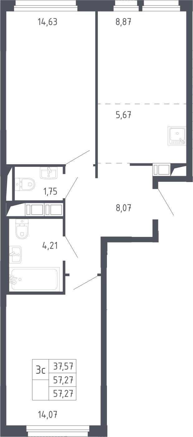 3Е-к.кв, 57.27 м², 13 этаж