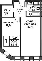 2Е-комнатная квартира, 56.6 м², 7 этаж – Планировка