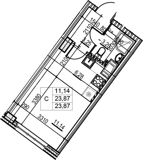 Студия, 23.87 м²– 2