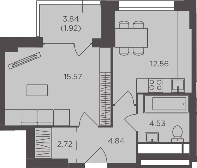 1-к.кв, 42.14 м², от 3 этажа