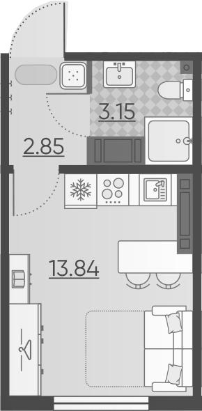 Студия, 19.84 м²– 2