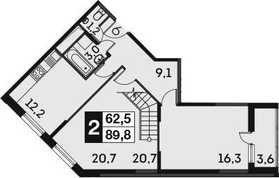 2-к.кв, 91.6 м²