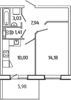 1-комнатная, 38.35 м²– 2