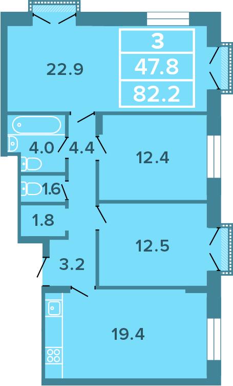 3-комнатная, 82.2 м²– 2