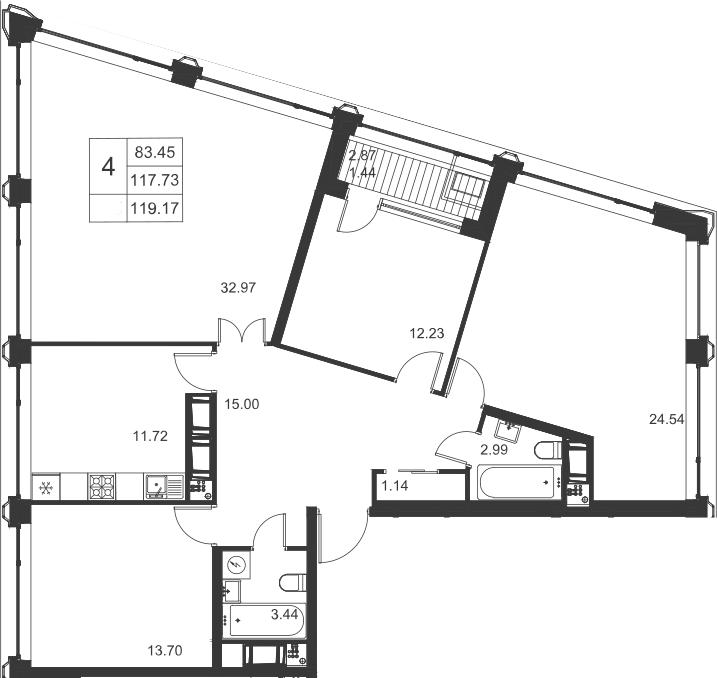4-комнатная, 119.17 м²– 2