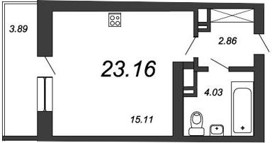 Студия, 25.88 м²