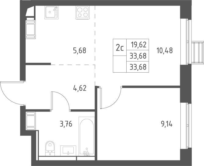 2Е-комнатная, 33.68 м²– 2