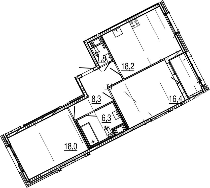 3Е-к.кв, 70.9 м², от 6 этажа