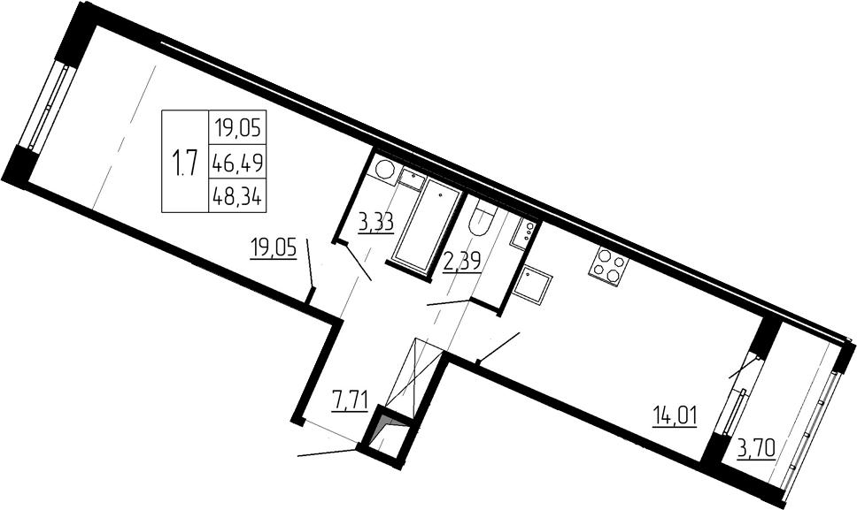 1-к.кв, 46.49 м²
