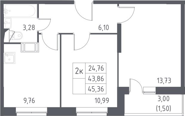 2-к.кв, 45.36 м²