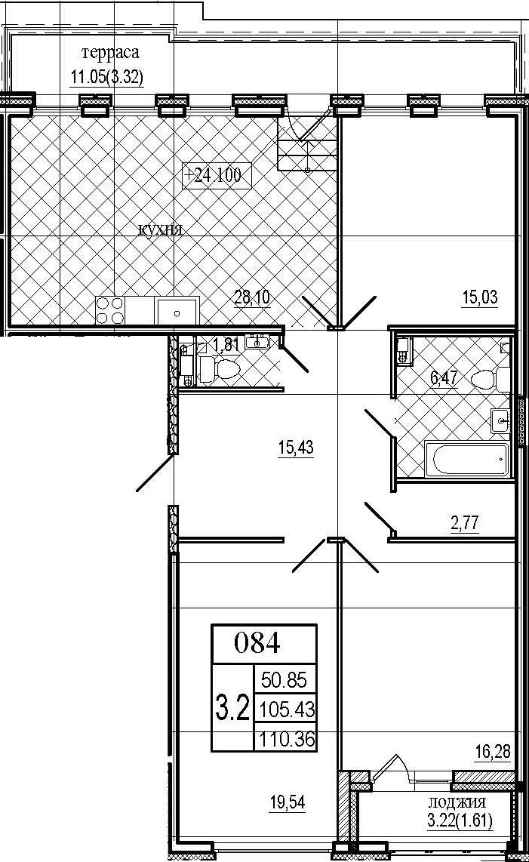 4Е-к.кв, 110.36 м², 8 этаж