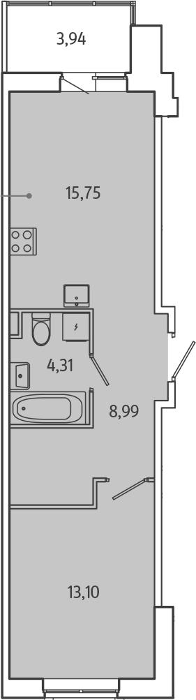 2Е-комнатная, 44.12 м²– 2