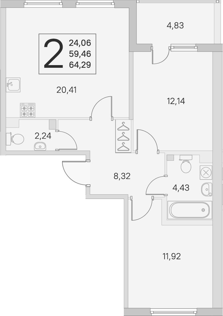 3Е-комнатная, 59.46 м²– 2