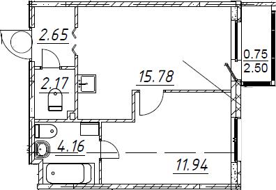 2Е-к.кв, 37.45 м²