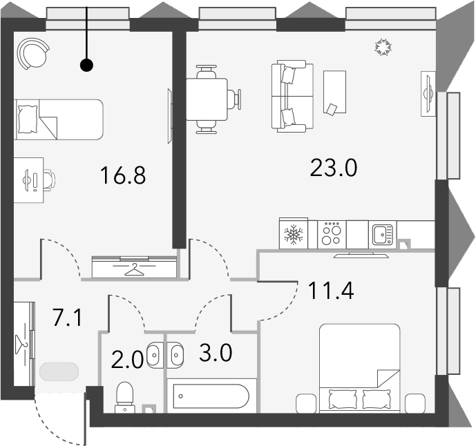 3Е-комнатная, 63.3 м²– 2