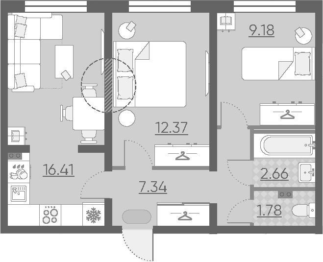 3-к.кв (евро), 49.74 м²