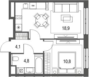 2Е-к.кв, 38.6 м², 2 этаж