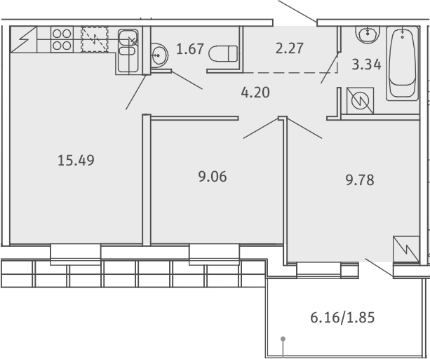 3Е-к.кв, 47.66 м²