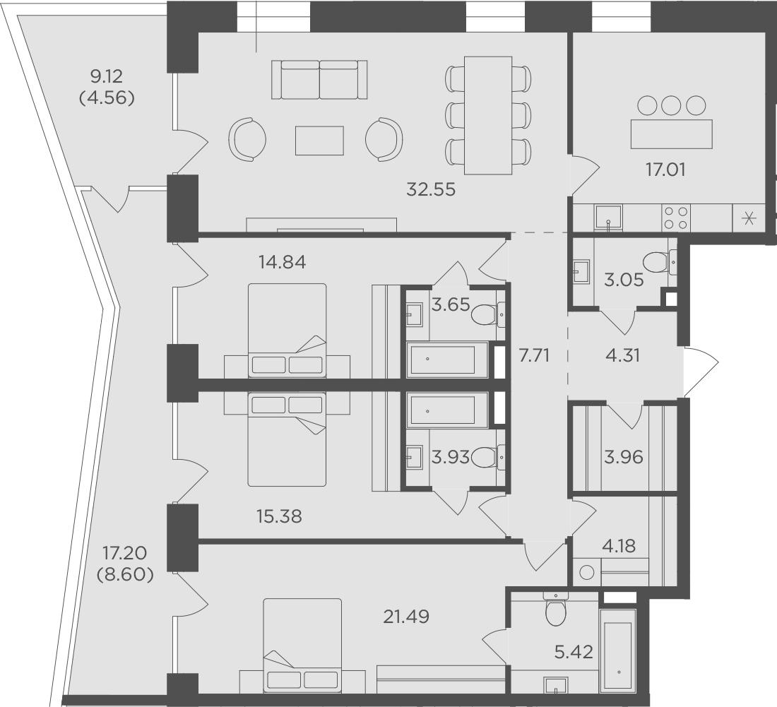 4-к.кв, 150.64 м², 3 этаж