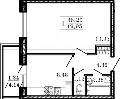 1-комнатная, 36.29 м²– 2