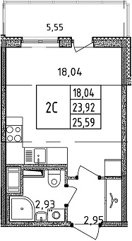 Студия, 23.92 м²