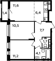 3Е-комнатная, 54.6 м²– 2
