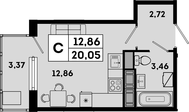 Студия, 20.05 м²
