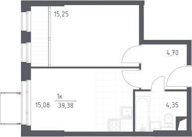 2-к.кв (евро), 39.38 м²