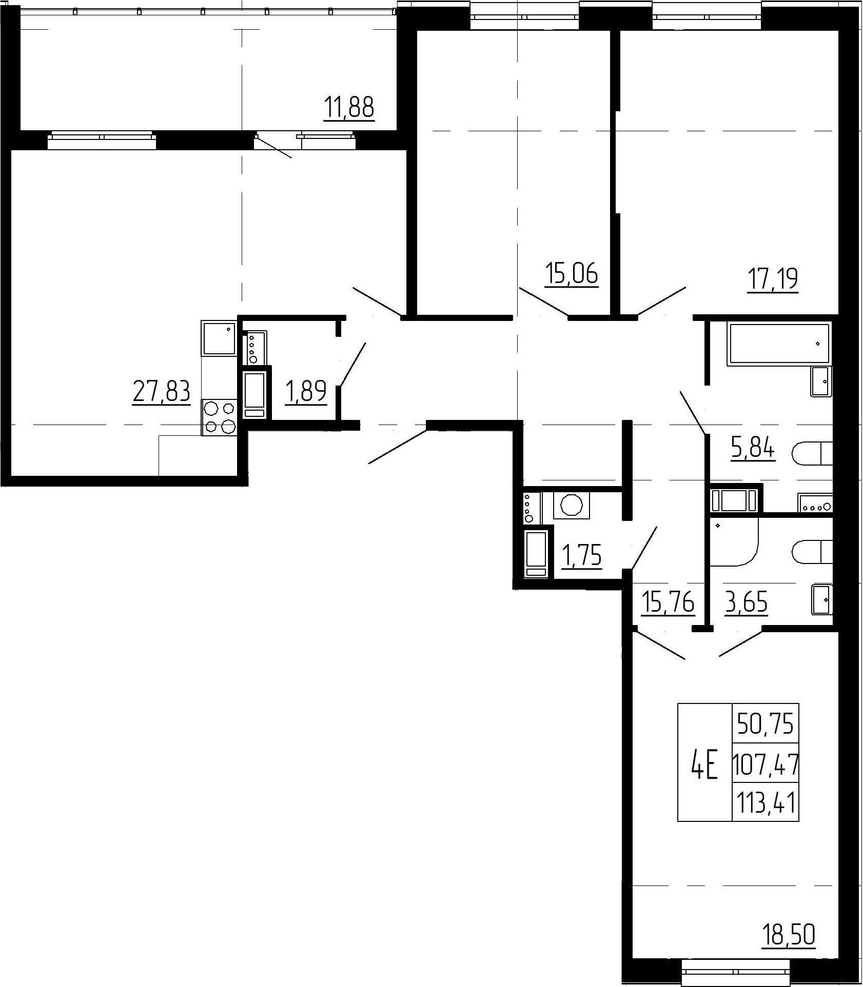 4Е-комнатная, 107.47 м²– 2